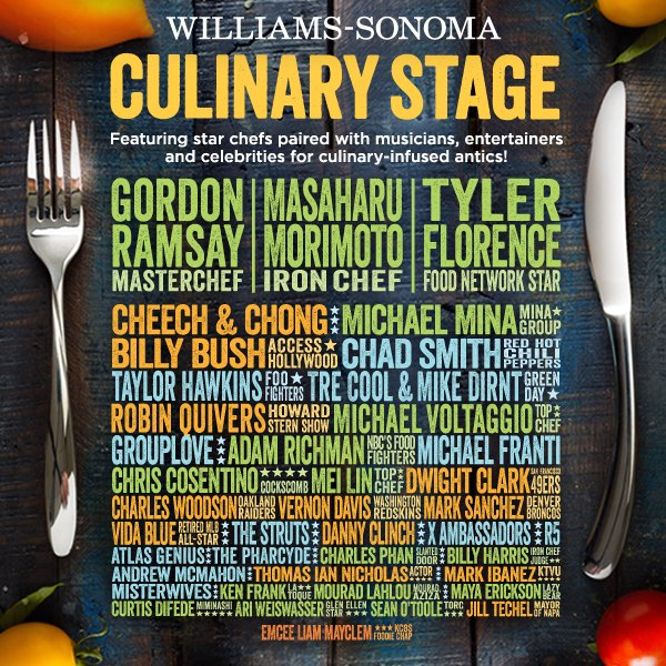 Members of Green Day, Foo Fighters, Chili Peppers and others to join famous chefs on stage at BottleRock Napa Valley