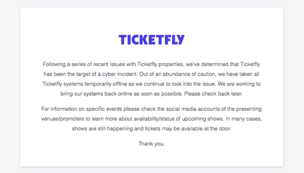 Ticketfly, Ticketfly cyber attack